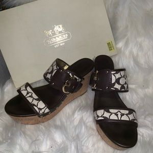 COACH Cortnee wedge slide sandal Brown 10